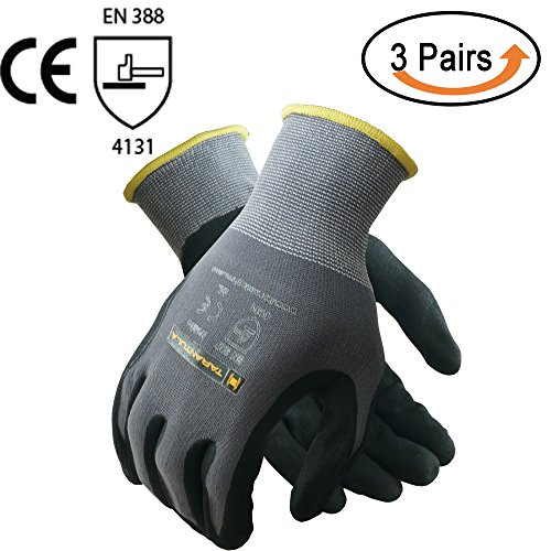 TARANTULA Nitrile Coated Safety Work Gloves, 13 Gauge Grey nylon/spandex shell with Black Breathable Foam Nitrile Coated on Palm and Fingers, 3 Pair Per Pack