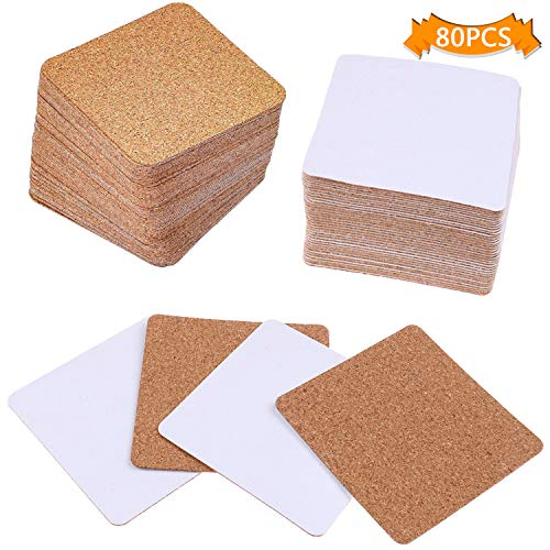 - LOCOLO 80 Pieces Self-adhesive Cork Coasters Set, Cork Squares Sheets Cork Mat for Coasters and DIY Crafts