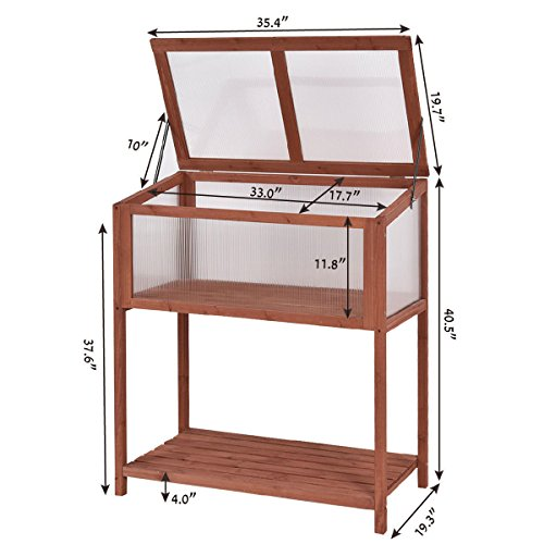 Greenhouse Garden Portable Wooden Cold Frame Raised Flower Planter Protection by  (Image #4)