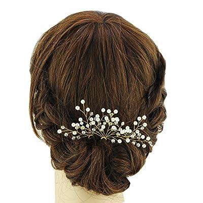 ULAPAN Wedding Hairpiece Wedding Hair Pins Pearls Bridal Hairpiece Headband Wedding Headwear With Pin