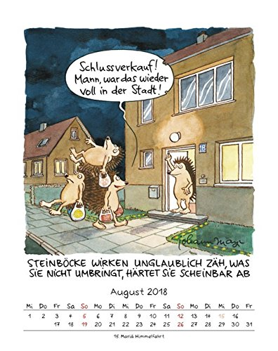 Der Steinbock 2018 Sternzeichen Cartoonkalender 9783731825203