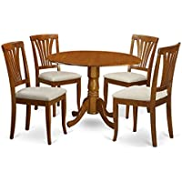 East West Furniture DLAV5-SBR-C 5-Piece Kitchen Table Set, Saddle Brown Finish