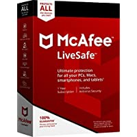 McAfee 2018 LiveSafe 1 Year Subscription Key Code Card for Unlimited Devices