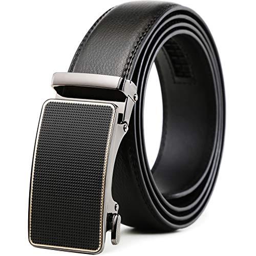 (Belt for Men,Leather Ratchet Click Dress Belt With Automatic Slide Buckle Adjustable-35mm Wide (28