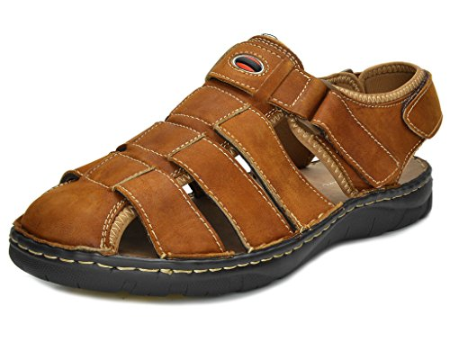 BRUNO MARC MODA ITALY BANKOK Men's Casual and Outdoor Adjustable Strap Summer Fisherman Sandals New TAN NUBUCK SIZE 10