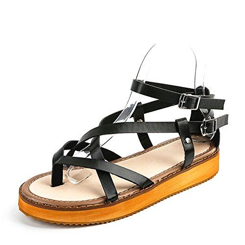 Sandales Femme Été Reed À Fond Plat Chaussures Boucle Mot Toe outlet ... 838440338f07