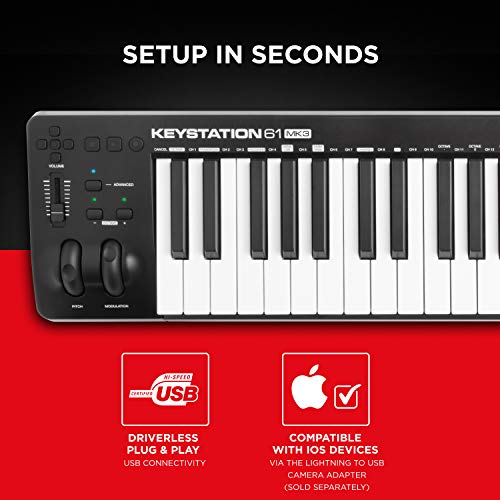 M-Audio Keystation 61 MK3 | Compact Semi-Weighted 61-Key USB-Powered MIDI Keyboard Controller with Assignable Controls, Pitch / Modulation Wheels and Software Production Suite included