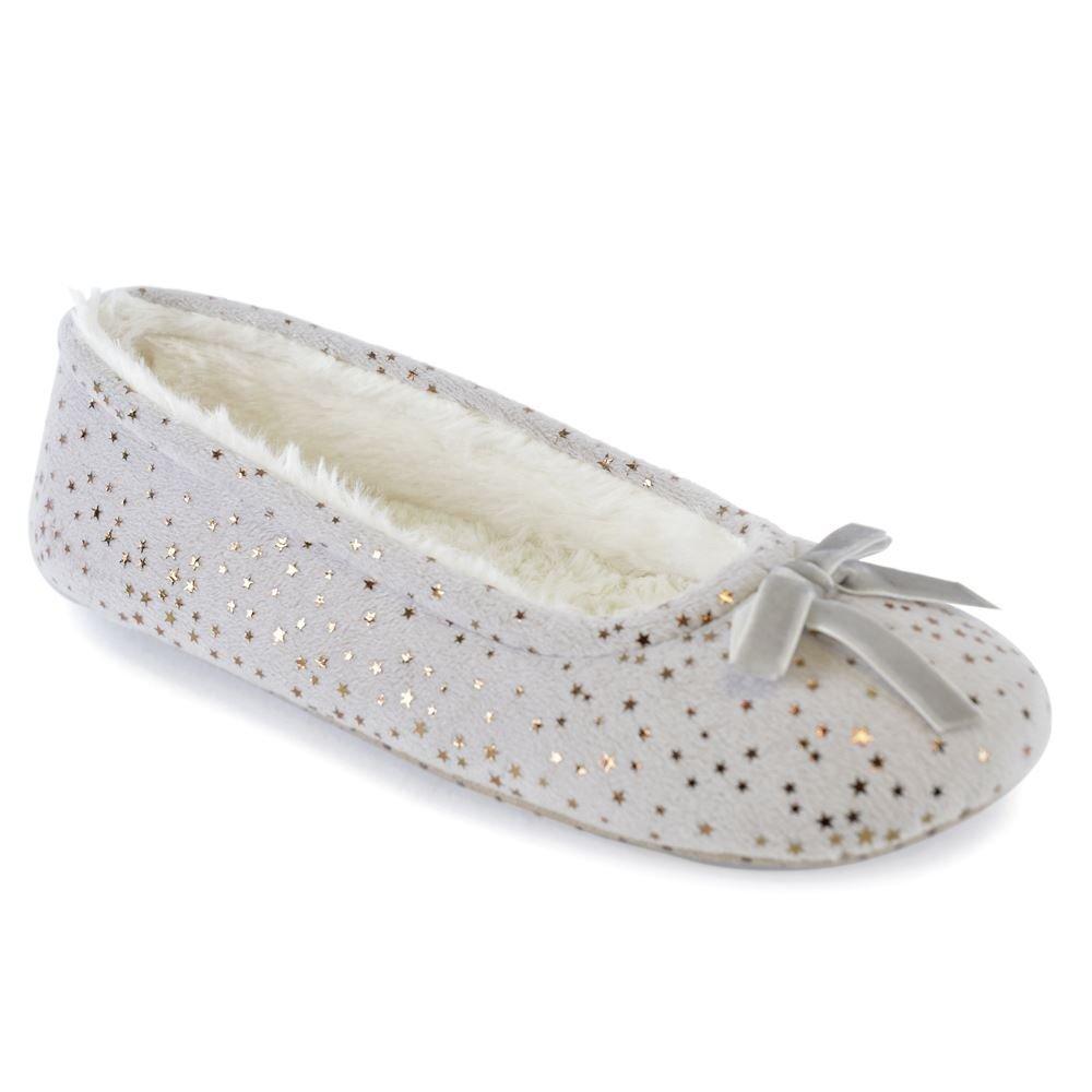 "Ladies /""Velour Bow/"" Ballet Slippers"