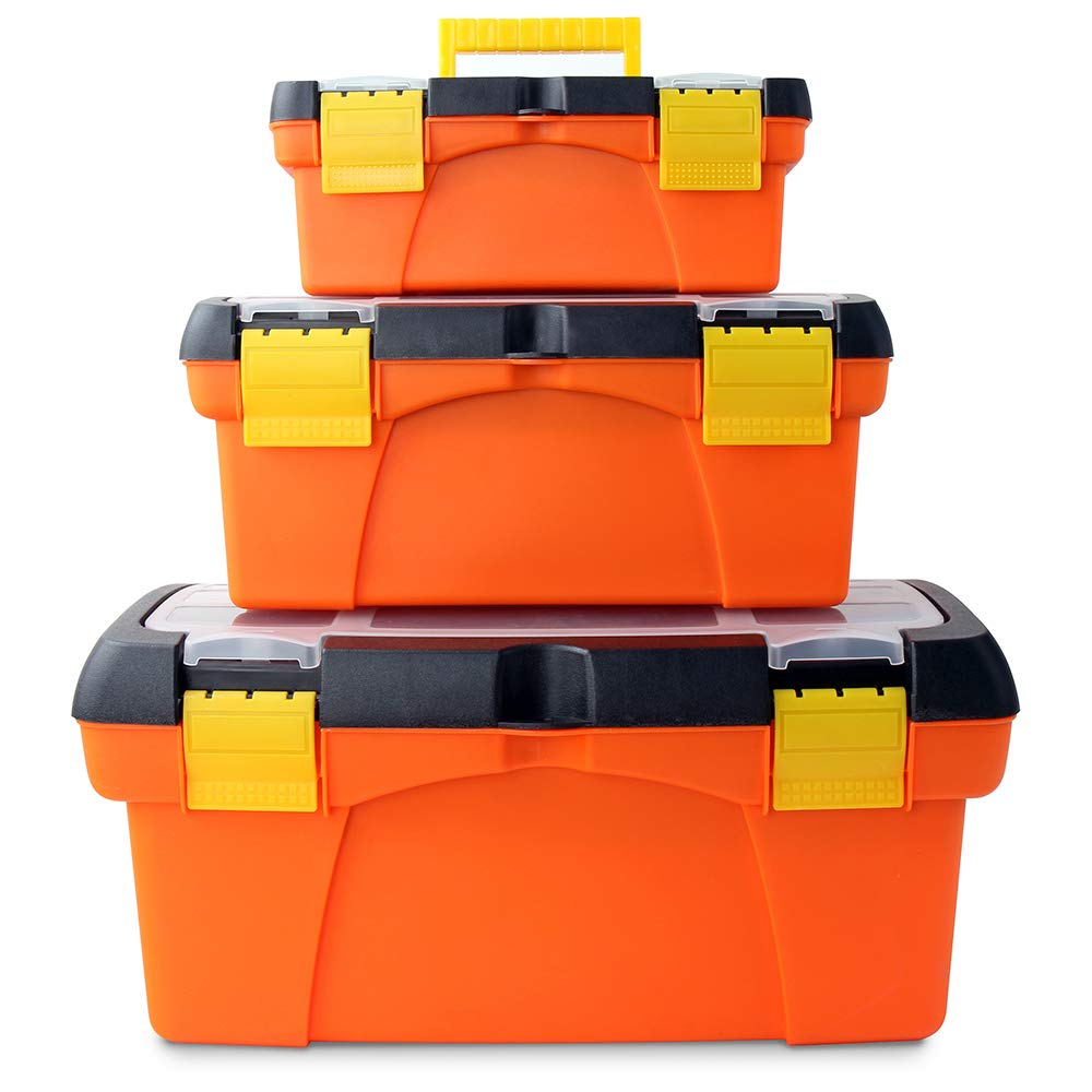 Arts and Crafts 5 Pieces Hi-Spec Portable Tool Box Set with Clear Lids and Removable Trays for DIY and Tools Fishing Tackle Hobby Storage Tool and Equipment Box