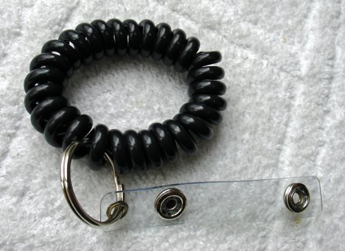 (Wrist Coil Key-ID-Badge Holder With Split Ring And ID Snap Strap)