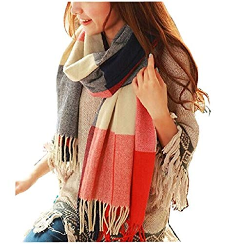 Loritta Womens Scarf Fashion Long Plaid Shawls Wraps Big Grid Winter Warm Lattice Large Scarves Gifts