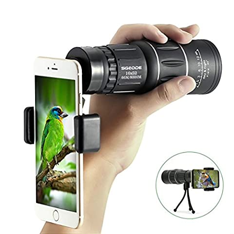 16x52 Dual Focus Monocular Telescope,SGODDE Waterproof Spotting Scopes ,HD Wide View, BAK4 Prism Scope with Hand Strap,Tripod , Universal Cell Phone Adapters for Wildlife Viewing Camping - Velvet Lens