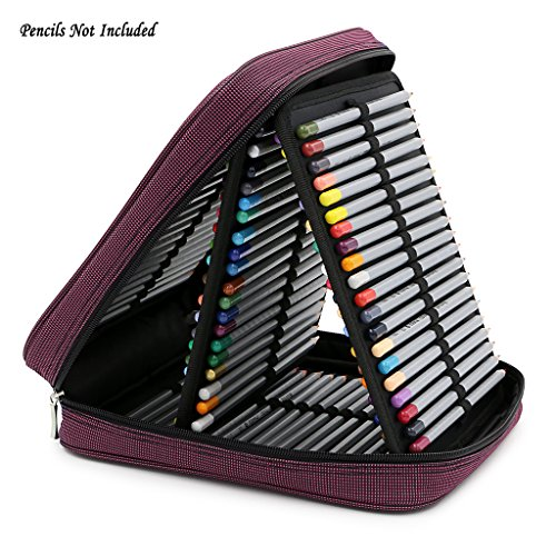 BTSKY Handy Deluxe Pencil Wrap Case Large For Colored Pencils- 120 Slot Watercolor Pencil Bags With Zipper (Red )