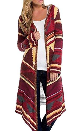 Etnica Capucha Cortavientos Cárdigan Largo Invierno Capucha Rebecas Elegantes Larga Cárdigans Con Estilo Mujer Largos Otoño Fashion Con Casual Rojo Estampadas Manga 10w4T4