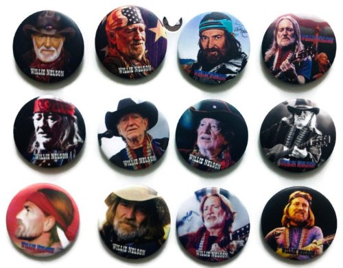 Willie Hugh Nelson Awesome Quality Lot 12 New Pins Pinback Button Badge 1.25