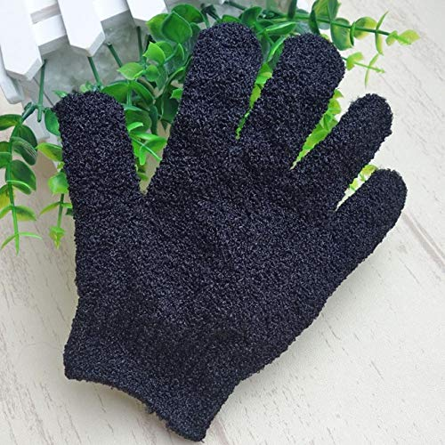 Bath Gloves Mitt For Exfoliating Color Black Peeling Glovefive Fingers Exfoliating Tan Removal Bath Mitts Paddy Soft Fiber Massage Bath Glove Cleaner by DAKUHO