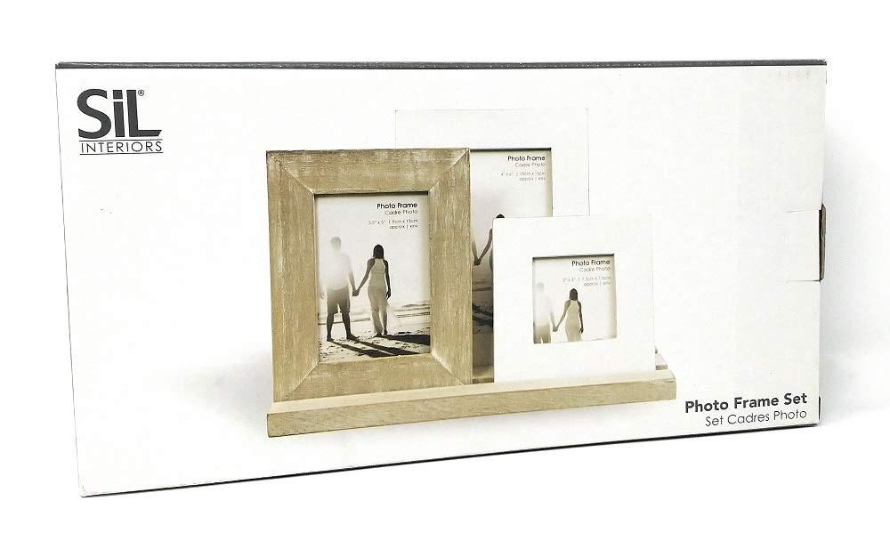 3 marcos de fotos de madera en bandeja, acabado en un estilo envejecido: Amazon.es: Hogar