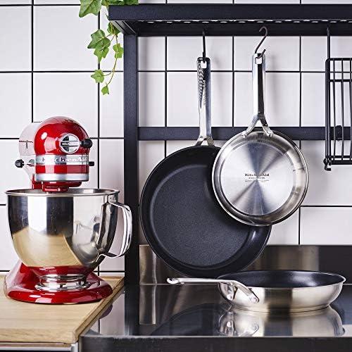 KitchenAid Poêle à Frire en inox avec revêtement anti-adhésif et poignée en inox - Passe au four et au lave-vaisselle, convient à l'induction - 24 cm