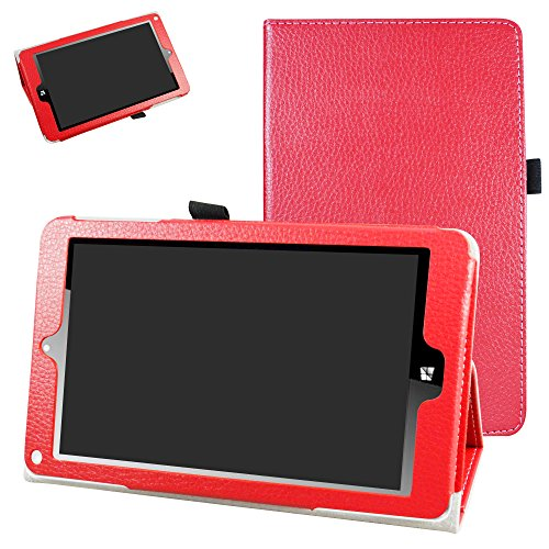 NuVision TM800W560L Case,Mama Mouth PU Leather Folio 2-Folding Stand Cover for 8 2016 Newest NuVision TM800W560L 8-inch Signature Edition Windows 10 Tablet,Red