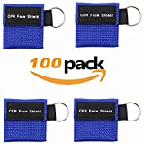 CPR Kit,100 pcs/pack CPR Mask, One-way Valve Emergency Face Shields Rescue Baby and Adult Cpr Pocket Mask for First Aid, (100 Packs)