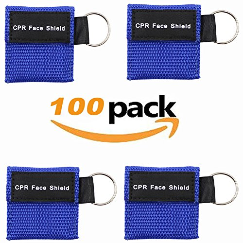 100pcs CPR Face Shield Mask Keychain Keying CPR Face Shields Pocket Mask (Blue-100)