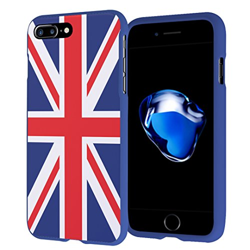 (iPhone 7 Plus Case, Capsule-Case Slim Fit Snap-on (Blue) Hard Case for Apple iPhone 7 Plus - (Union Jack Flag))