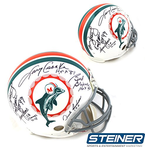 1972 Miami Dolphins Team (1972 Miami Dolphins Team Autographed/Signed Authentic Throwback Helmet With 6 Signatures And Inscriptions)