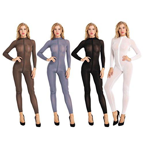 YiZYiF Womens Lingerie Double Zipper Long Sleeve Bodystocking Crotchless Bodysuits