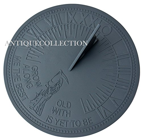 "ANTIQUECOLLECTION Father Time Sundial, Cast Iron with Verdigris Finish, 11.5"" Diameter"