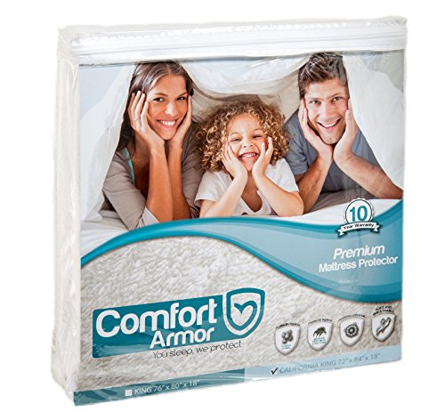 COMFORT ARMOR Mattress Protector - Cal King Size Waterproof & Hypoallergenic Mattress Protector - Protects from Spills, Bodily Fluids, Dust Mites - Vinyl Free Breathable Surface Mattress Cover