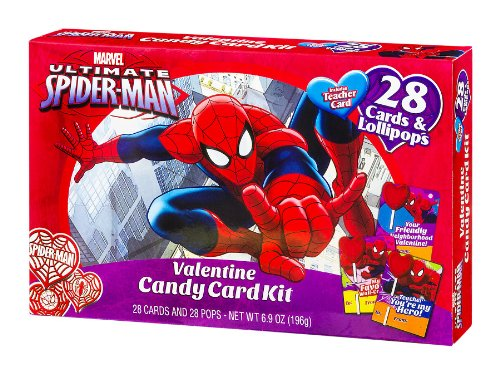 Marvel Ultimate Spider-man Valentine Candy Card Kit & Lollipops includes Teacher Card 28 Count