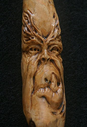 Woodcarving Wood Spirit Orc Troll Goblin Labyrinth Inspired Tree Face Spirit of the Woods Odd Weird Pagan Wiccan Sculpture Key Chain Pendant Talisman OOAK Unique Gift Ornament