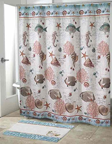 Avanti Linens 13827HMUL Seaside Vintage Shower Curtain, Medium, Multicolor (Seaside Vintage)