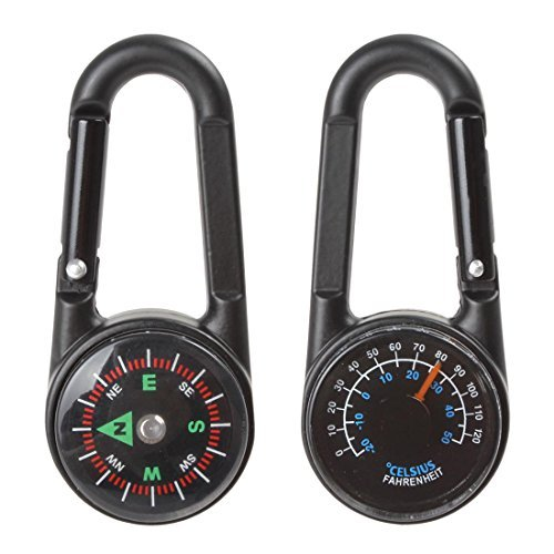 Price comparison product image OriGlam Best Carabiner Keychain with Clip Compass & Thermometer for Camping, Climbing, Hiking, Hunting