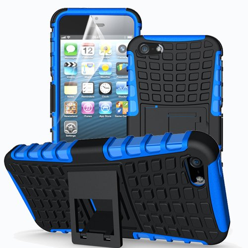 Apple iPhone 5 / 5S / SE Outdoor Handy Tasche Blau Hybrid Case Schutz Hülle Panzer TPU Silikon Hard Cover Bumper I betterfon