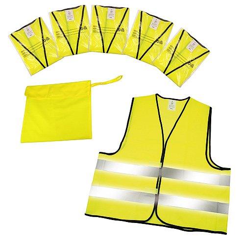 Set de 5 gilets jaunes de sécurité routière certifiés EN ISO 20471 - un gilet de sécurité pour chaque passager !