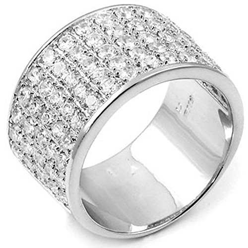 Mens Large Iced Out Wide 360 Eternity Round Pave Cz Sterling Silver Band Ring