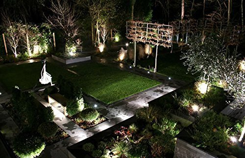 lawn LED lights, DDSKY Pack of 2 Outdoor Water-resistant Landscape Lighting Spotlight Wall Light Wall Yard Path Patio Lighting AC Spiked Stand with Power Plug Cool white Soft (Cool white) by LemonBest (Image #7)