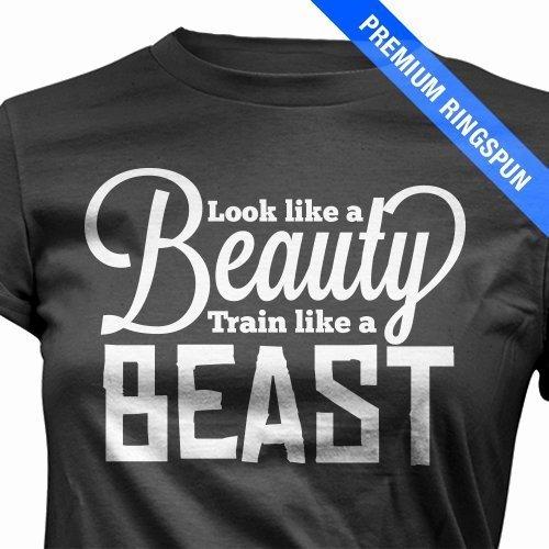 Amazon.com  Look Like A Beauty Train Like a Beast Workout T- Shirt ... 763e2cac1