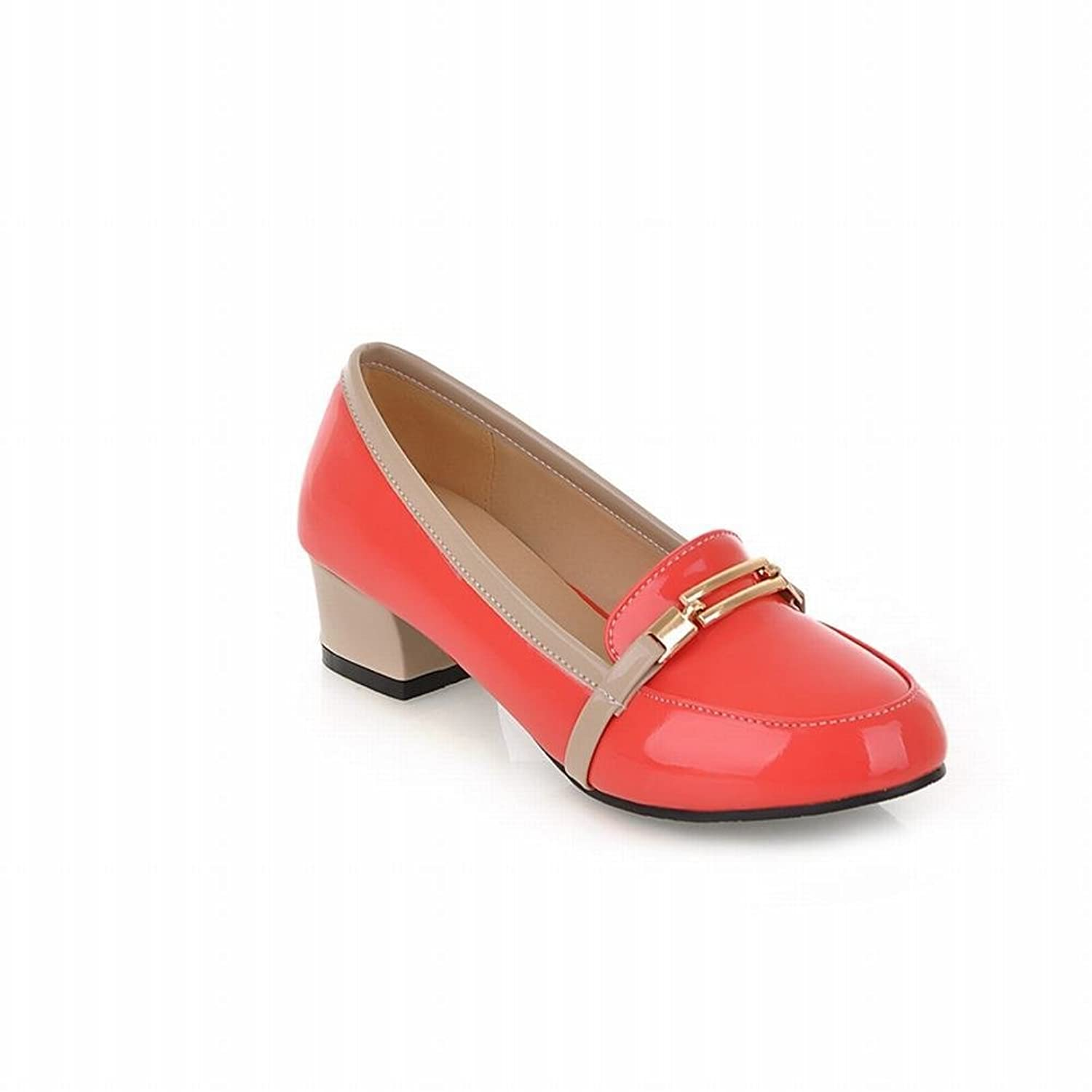 Latasa Women's Cute Patent-leather Mid Chunky Heels Slip on Loafers Shoes