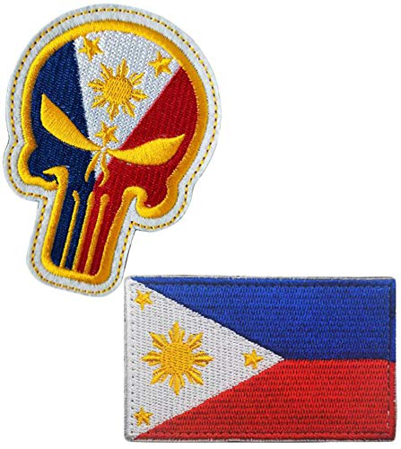 (GAMESPFF 2pcs Philippines Philippine National Flag and Punisher Skull Military Embroidered Hook & Loop Badges Patch (Color 1))