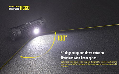 Nitecore HC60 Neutral White 1000 Lumen USB Rechargeable LED Headlamp, 3400 mAh Rechargeable Battery Plus LumenTac Adapters and USB Charging Cable by Nitecore (Image #4)