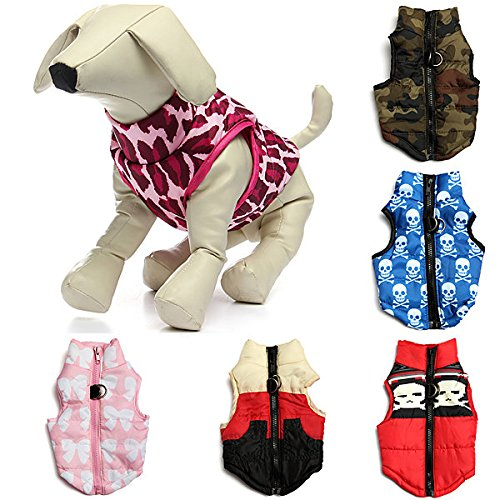Pet Dog Warm Cotton Padded Vest Jacket Puppy Harness Soft Coat ( Multicolor, XS ) ()