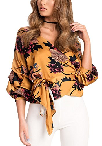 Floral Puff Sleeve Top - Women's Sexy Summer Off Shoulder V Neck Wrap Puff Sleeve Floral Print Blouse Shirt Tops with Belt Orange, Medium