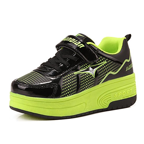 ionlyou® Chaussures à roulettes Roller Skate roues Skate Chaussures Enfants, vert30, 33