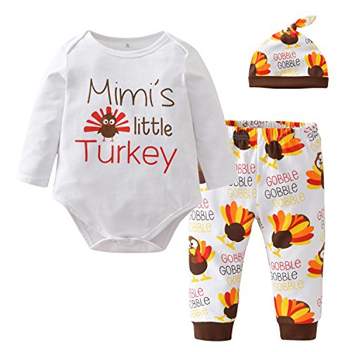 Thanksgiving Baby Boys Girls Mimi's little Turkey Long Sleeve Bodysuit and Pants Outfit with Hat (0-6 Months)