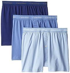 Calvin Klein Men\'s 3-Pack Cotton Classic Knit Boxer, Blue Assorted, Large