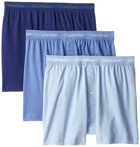 Calvin Klein Men's Cotton Classics Multipack Knit Boxers, Blue Assorted, Medium (Briefs Soft Boxer Extra)