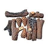Stanbroil Fireplace 10 Piece Set of Ceramic Wood Logs for All Types of Ventless, Gel, Ethanol, Electric,Gas Inserts, Propane, Indoor or Outdoor Fireplaces & Fire Pits - Small Size