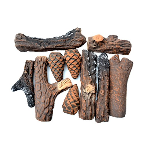 Clearance Gas Zero Fireplaces (Stanbroil Ceramic Wood Set of Fireplace Logs for All Types of Ventless, Gel, Ethanol, Electric,Gas Inserts, Propane, Indoor or Outdoor Fireplaces & Fire Pits - Small 10 Piece Set)